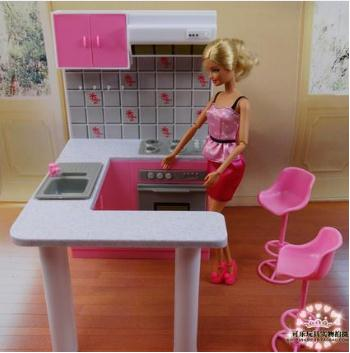 Original Princess Kitchen For Barbie Doll Accessories 1/6 Bjd Doll Kitchen Furniture Dream House Cooking Accessories Child Toy
