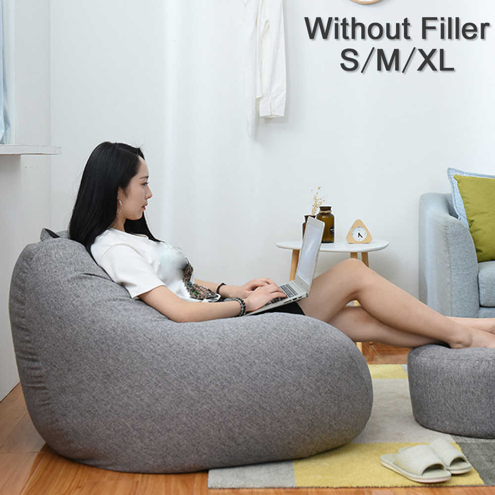 Large Small Lazy Sofas Cover Chairs without Filler Linen Cloth Lounger Seat Bean Bag Pouf Puff Couch Tatami Living Room