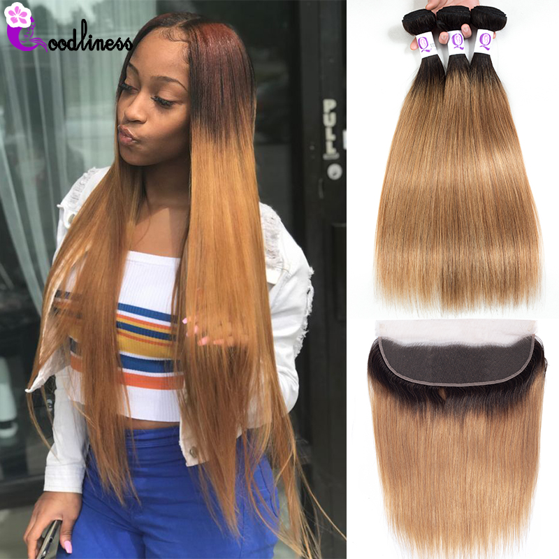 Goodliness Ombre Bundles With Frontal 1B/27 Ombre Peruvian Hair Weave Remy Ombre Straight Human Hair Blonde Bundles With Frontal