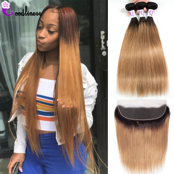 Goodliness Ombre Bundles with Frontal 1B/27 Ombre Peruvian Hair Weave Remy Ombre Straight Human Hair Blonde Bundles With Frontal фото