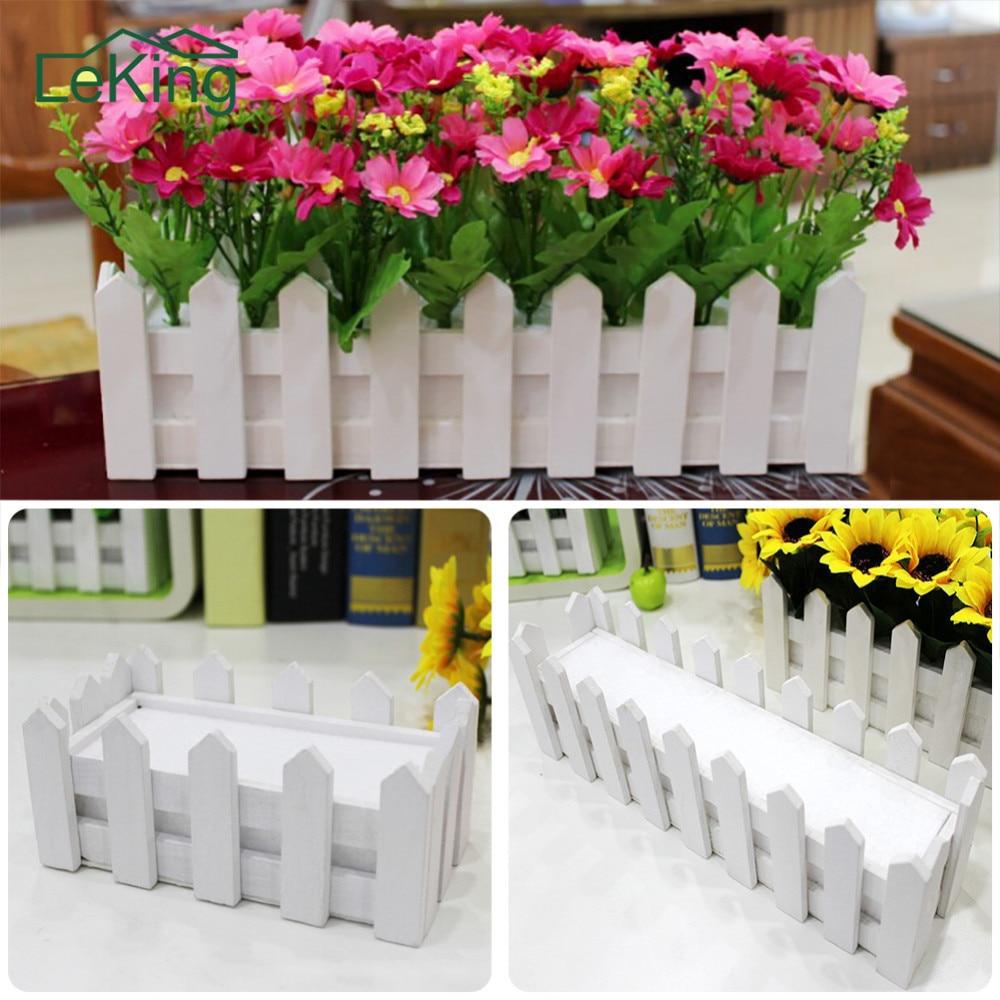 Wedding Garden Vertical White Wood Fence Pastoral Flowerpot For Home Garden Flower Planters Decoration Pots Supplies Artificial