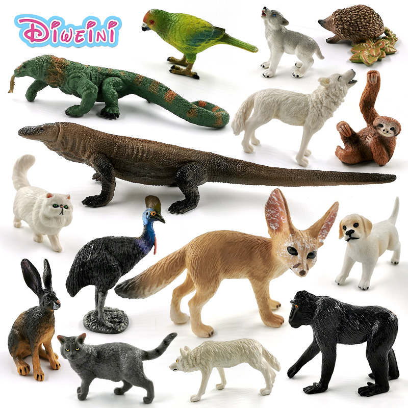 New Komodo Dragon Wolf Dog Cat Sloth Rabbit Lizard Parrot Cormorant Fox Animal Model Action Figure Educational Toys For Children