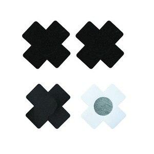 Image 2 - 무료 배송 섹시한 경험 50 쌍 (100Pcs) 인쇄 검은 십자가/X 젖꼭지 젖꼭지 커버