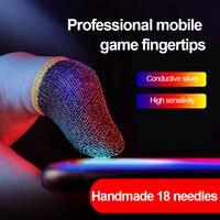 Maniche in fibra e cotone a 5 Pin-18 Pin per giochi mobili PUBG COD maniche a contatto con dita manica da gioco nera/bianca/blu
