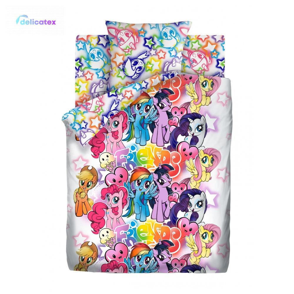 Bedding Sets Delicatex 16027-1+16028-1 Graffiti Neon Home Textile Bed Sheets Linen Cushion Covers Duvet Cover Baby Bumper Cotton