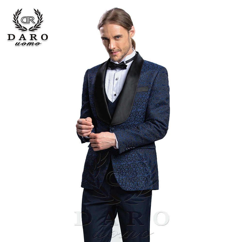 DARO 2019 новый мужской костюм из 3 предметов смокинг Slim Fit Синий Серый Белый для свадьбы вечерний костюм Блейзер брюки и жилет DARO8859