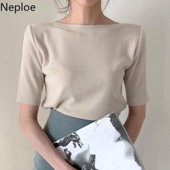Neploe, Camisetas básicas de algodón para mujer, camisetas de media manga con cuello redondo sólidas para mujer, verano 2020, nuevas camisetas ajustadas informales para mujer, 1C093