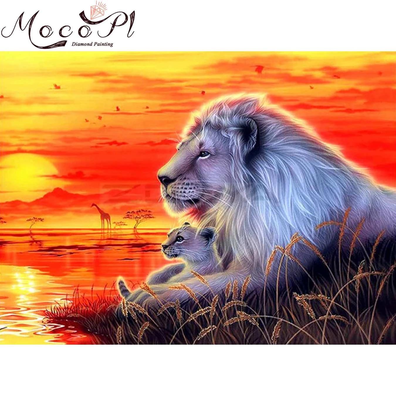 Full Drill 5D Diamond Painting Lion Couple Cross Stitch Rhinestone Mosaic Art