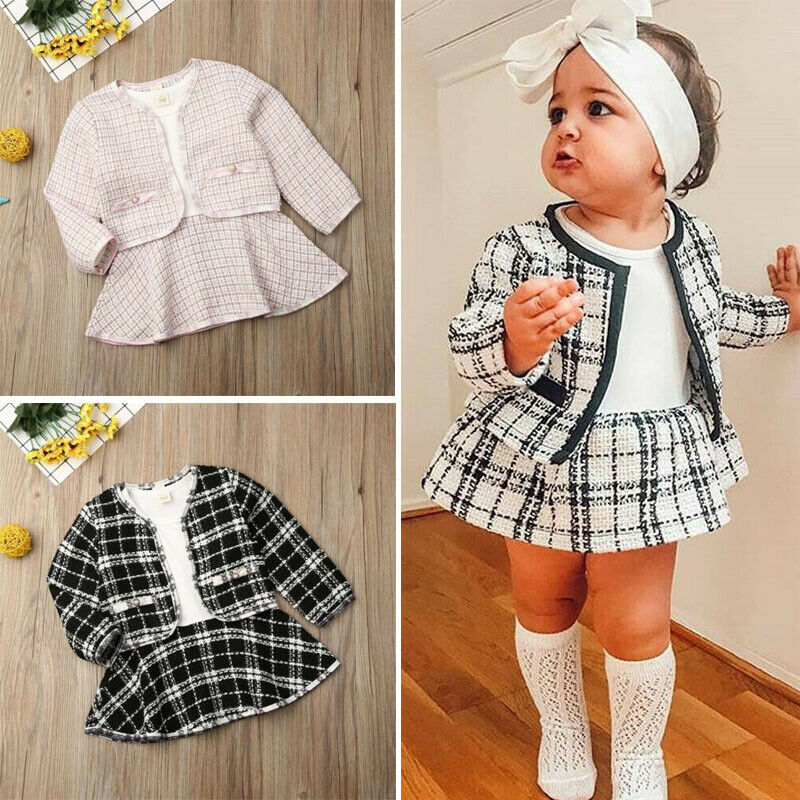 Winter Toddler Baby Girl Clothes Plaid Coat Tops Tutu Dress Formal Outfit Set