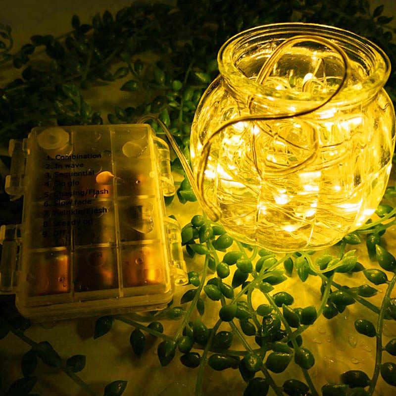 LED سلسلة أضواء الجنية سلسلة أضواء 12 متر 120 LED بطارية تعمل اليراع USB مقاوم للماء الفضة سلك مصابيح عطلات قطاع