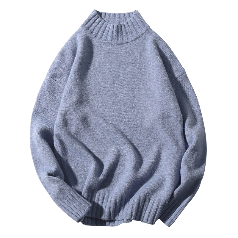 Knitted Oversized Sweater Men High Collar Cute Sweet Turtleneck Blue Vintage Sweater Autumn Winter Ribbed Pullover Male Knitwear