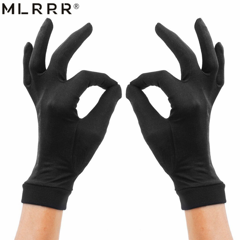 MLRRR 100% Silk Women's Sun Protection Knitting Gloves