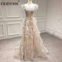 Fashion Feather Formal Evening Dress O Neck Sleeveless Shiny Bead Party Gowns Long Vestido De Fiesta