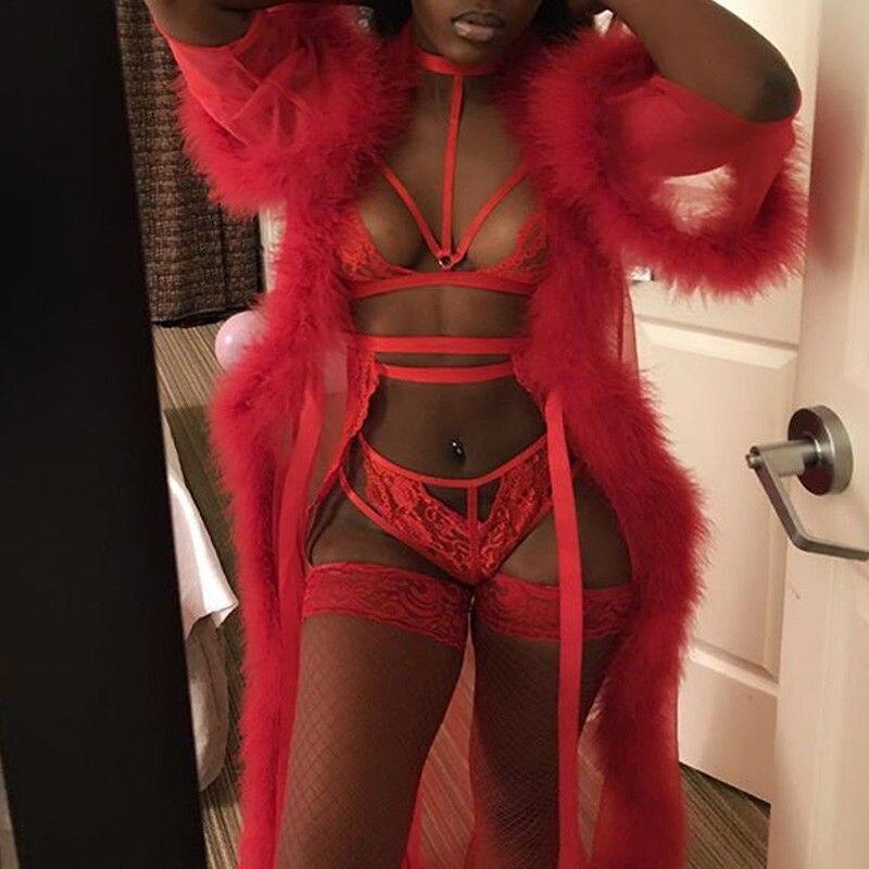 Sleepwear Women Red Lace Robe Sexy Lingerie Long Dress Chiffon Nightwear Underwear Babydoll Fur Bathrobe