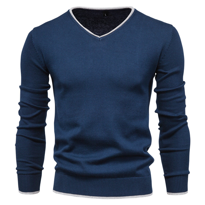 Men's Cotton Autumn Solid Color Long Sleeve Sweater Pullover Youth V-Neck Warm Sweater 6