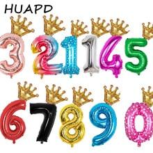 2 шт. 32 дюймов шара с цифрой мини Корона алюминиевой фольги воздушный шар, цвет золотистый, серебристый, голубой, цифровой Свадьба День Рожде...