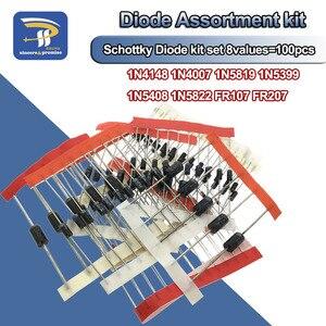 Fast Switching Schottky Diode Assorted kit DIY set 1N4148 1N4007 1N5819 1N5399 1N5408 1N5822 FR107 FR207,8values=100pcs