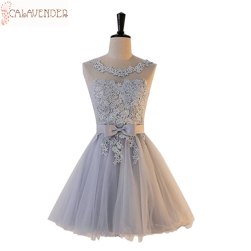 Illusion Bodice Graduation Gowns Lace Appliques Gray Homecoming Dresses A Line Short Dresses for Party