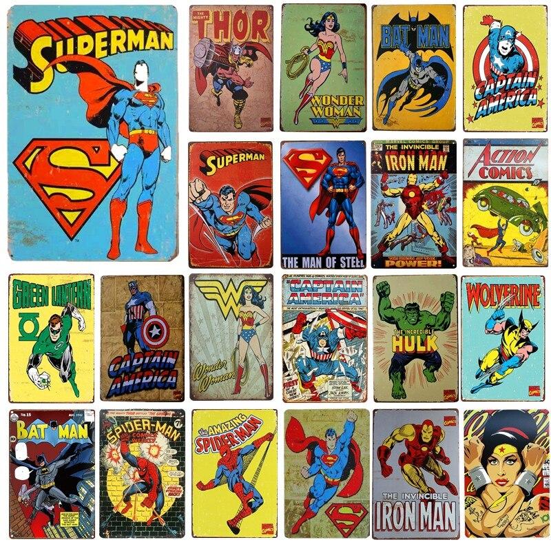 Металлические поделки с супергероями, жестяные знаки, американский мультяшный Настенный декор, декоративные таблички для рисования, худож...