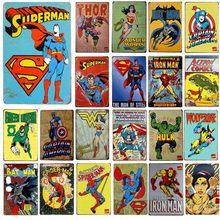 Super herói metal artesanato estanho sinais americano desenhos animados decoração da parede pintura placas arte cartaz