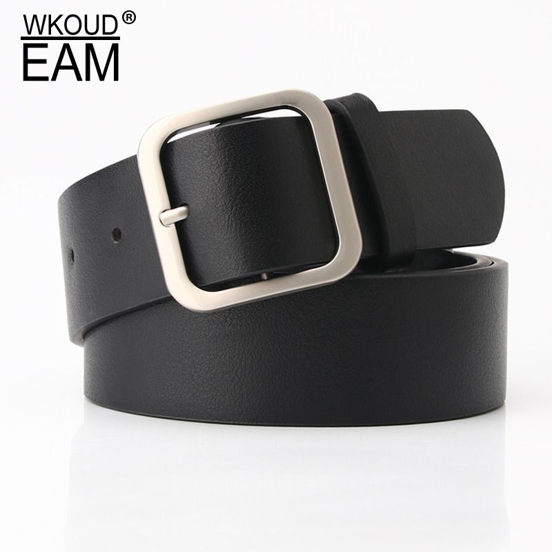 WKOUD EAM 2020 New Square Buclke PU Leather Belt For Women Causal Trendy Wide Waistband Female Fashion Corset Belt Lady PF189