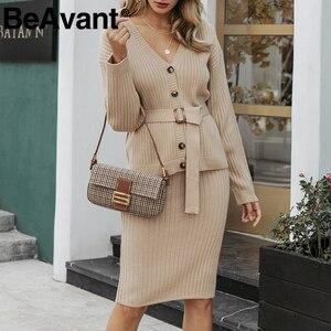 Image 5 - BeAvant iki parçalı örme elbise seti kadınlar zarif sonbahar kış kazak elbise takım elbise uzun kollu düğme sashes kadın etek takım elbise