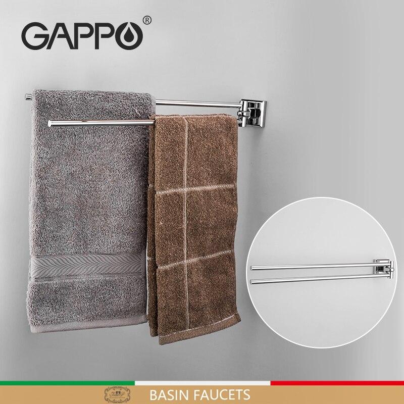 GAPPO paslanmaz çelik çift havlu çubukları duş rafı duvara monte havlu tutucu banyo raf kolye havlu Bar organizatör G3812