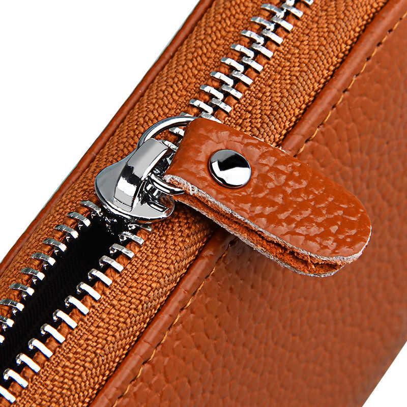 Men's Wallet Leather Credit Card Holder RFID Blocking Zipper Pocket New Women Business Card Holder Men Cowhide Travel Card Bag