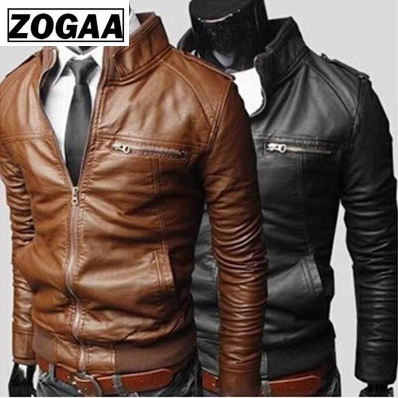 ZOGAA 2019men Leather Coat Autumn Winter Korean Leather Men Jacket Cool Motorcycle Leather Male Jacket Coat Warm Men's PU Jacket