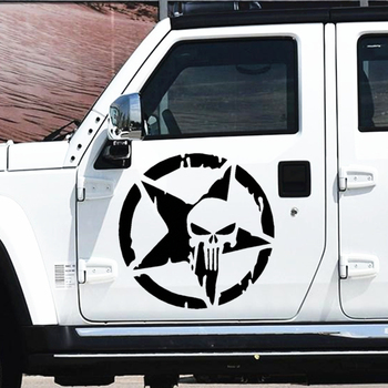 50CM Skulls Punisher Pentacle Five-pointed Star Car Stickers Creative Decoration Decals For Doors Vinyls Auto Tuning Styling D20 50cm skulls punisher pentacle five pointed star car stickers creative decoration decals for doors vinyls auto tuning styling d20
