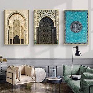 Image 3 - Affiche de porte avec Architecture islamique, toile imprimée de mosquée, Alhambra, peinture artistique murale, décoration de maison moderne