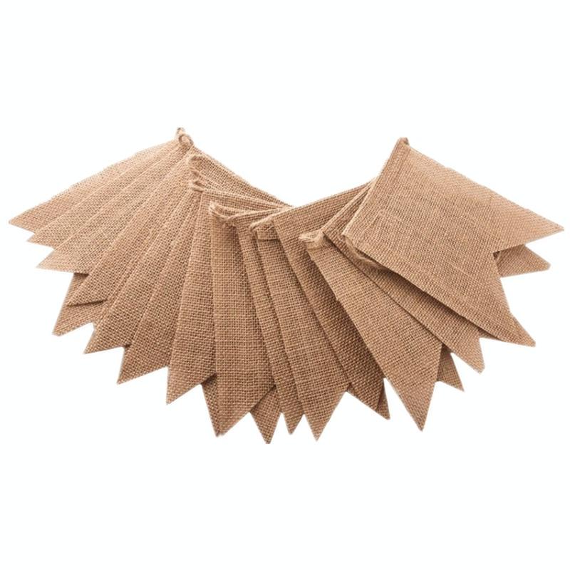 Джутовые флаги из джутовой ткани, 15 шт./компл., Свадебный баннер, баннер, льняной пеньер для дня рождения, домашний декор, товары для мероприя...
