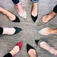 ポインテッドトゥのバレエ女性30色女性にフラットシューズウールニット妊娠中の女性のローファーの靴モカシン