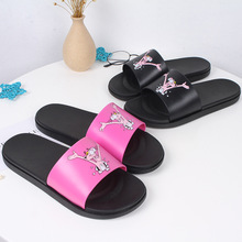 2019 New Female Summer Cute Cartoon Naughty Girl Heart Pink Leopard Slippers Indoor Non-slip Bathroom Home Sandals