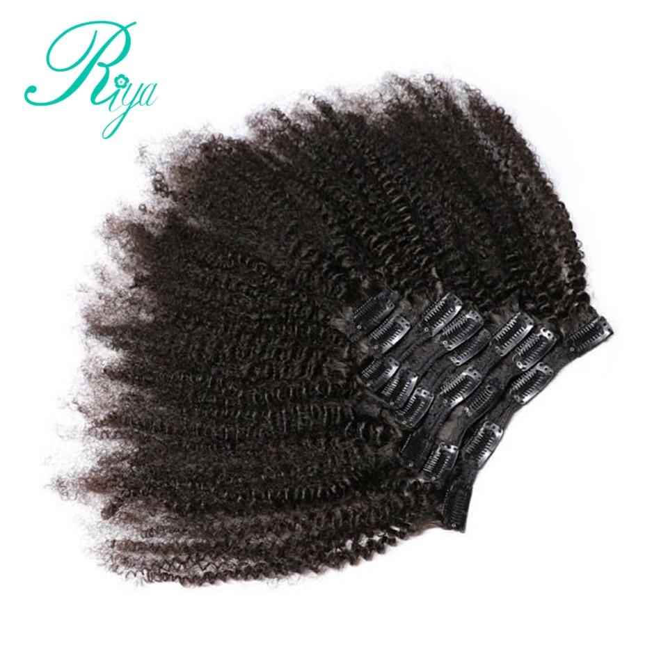 Riya grampos de cabelo, grampos de cabelo humano brasileiro afro cacheado extensões de cabelo 8 peças e 120g/conjunto natural cabelo remy da cor