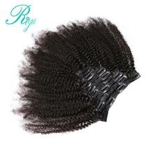Riya-Pinzas para el pelo en pelo humano brasileño Afro rizado, extensiones de cabello con Clip en 8 piezas y 120g/set, cabello Remy de Color Natural
