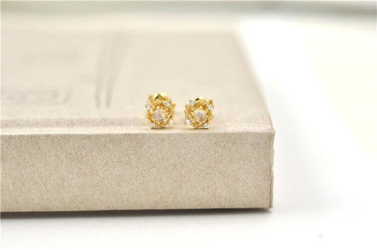 Bijoux moonlight pierre boucles d'oreilles automne et hiver nouvelle couleur trésor alimentaire argent placage or - 5