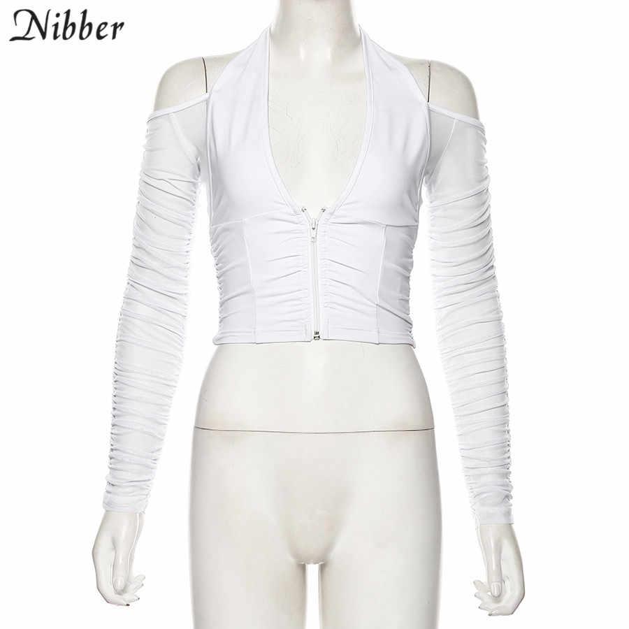NIBBER ファッションセクシーな V ネックメッシュパッチワーク tシャツ女性ストラップレス長袖クロップトップ 2019 クラブパーティーナイト tシャツ mujer