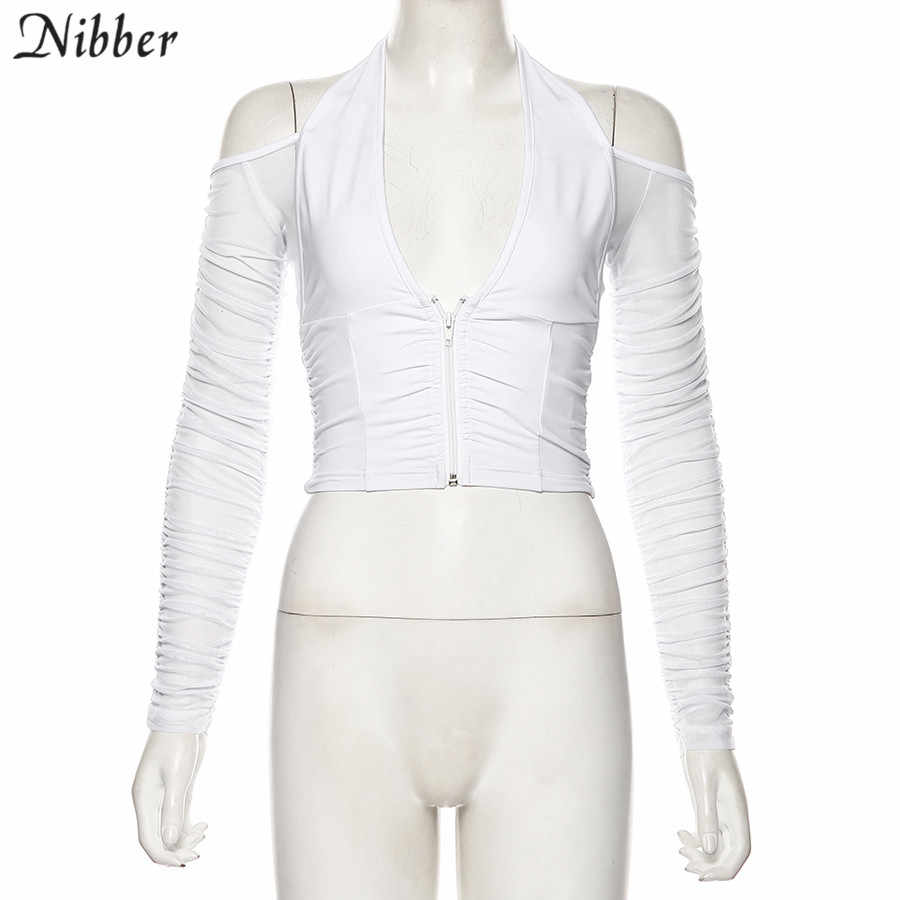 NIBBER fashion sexy V-neck mesh patchwork t-shirt women Strapless  long sleeve crop top 2019 club party night Tee shirts mujer