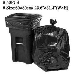 50psc duże worki na śmieci Heavy Duty 15 galonów bardzo duża handlowa worek na śmieci śmieci stoczni czarny czyszczenie worek na odpady 60*80cm w Worki na śmieci od Dom i ogród na