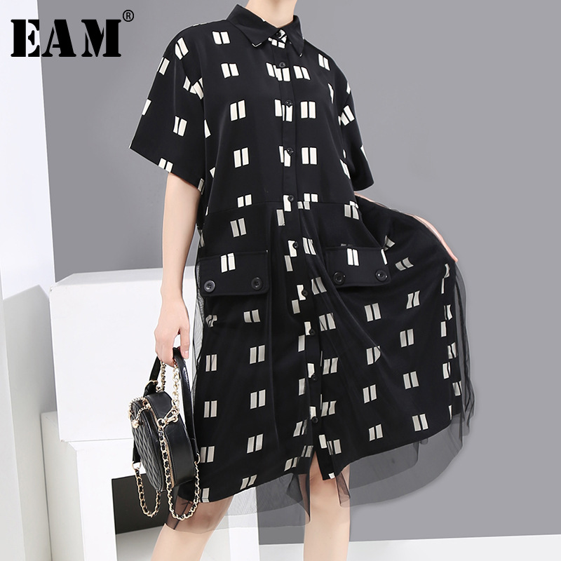 [EAM] Women Black Printed Mesh Big Size Shirt Dress New Lapel Short Sleeve Loose Fit Fashion Tide Spring Summer 2020 1X323