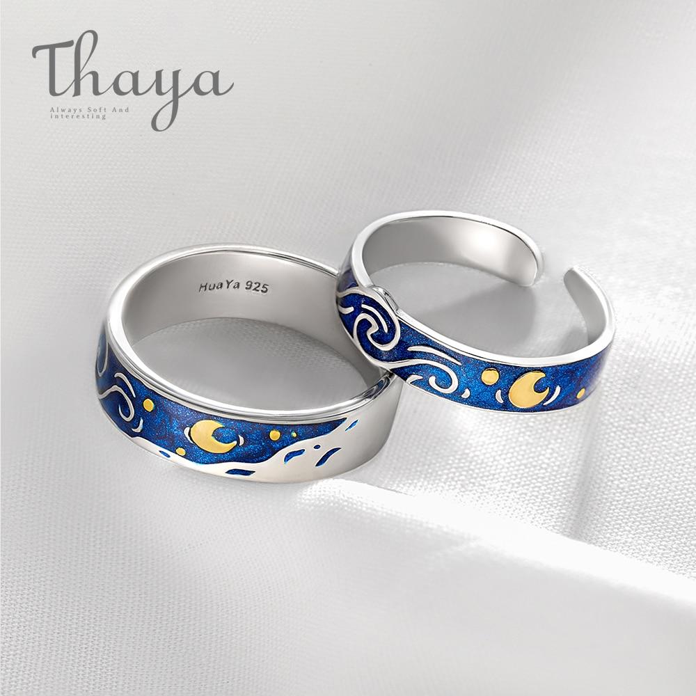 Thaya Genuine Van Gogh's Enamel Rings Jewelry 925 Silver Glitter Deer Sky Gold Moon Star Canvas Finger Ring Romantic for Women(China)