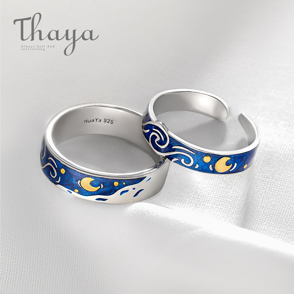 Thaya anillos de esmalte genuinos de Van Gogh joyería 925 Plata brillo ciervo cielo dorado Luna estrella lienzo anillo de dedo romántico para las mujeres