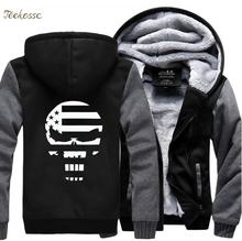цена American Sniper Punisher Skull Navy Seal Hoodie Sweatshirt Streetwear Hip Hop Men 2018 Winter Fleece Zipper Hooded Thick Hoodies