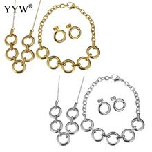 New Fashion Stainless Steel Jewelry Sets For Womens Oval Chain Stud Earring Bracelet Necklace Beauttyful Wedding