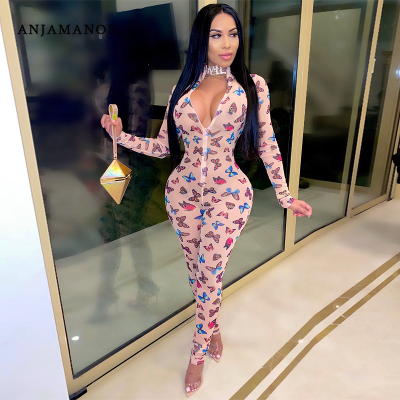ANJAMANOR Butterfly Print Sexy Mesh Sheer Jumpsuit Women Club Outfits Fall 2020 Zip Deep V Long Sleeve Bodycon Romper D16-CF16
