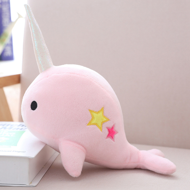 25CM Cute Narwhal Whale Binary Star Doll Plush Toy Soft Animal Ocean Sea Stuffed Toys for Children Girls Birthdays Gift