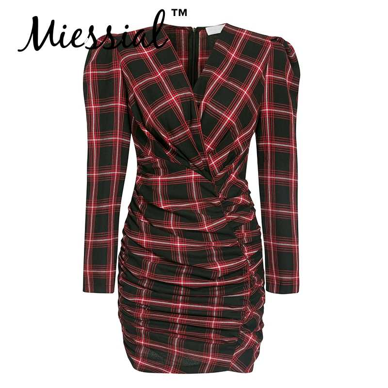 Miessial клетчатое сексуальное облегающее платье с v-образным вырезом для женщин, Осеннее элегантное мини-платье, вечерние, Клубные, с длинным рукавом-фонариком, женская короткая ночная сорочка