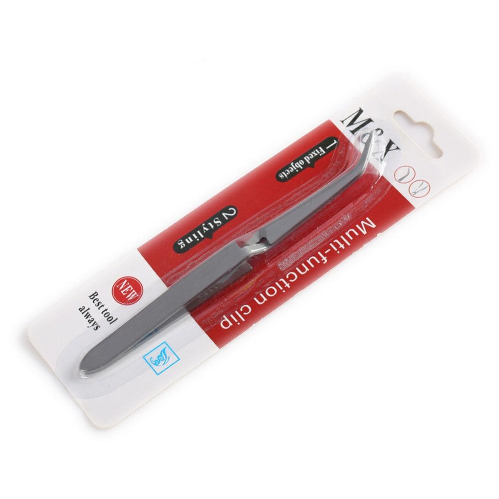 1pc Nail Art pince à épiler acier inoxydable croix Action pince à épiler multifonctionnel en forme dongle pince manucure courbe pince à ongles outils