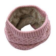Женский однотонный толстый теплый шейный платок, дышащий вязаный шерстяной шарф, теплый хомут, дышащий Круглый шарф